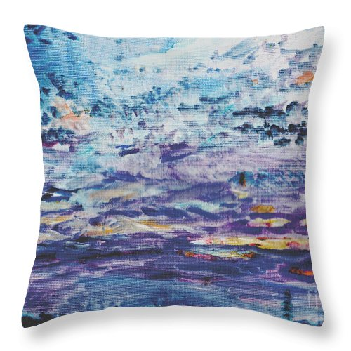 Sunset Throw Pillow featuring the painting Suburban Sunset by Andy Mercer