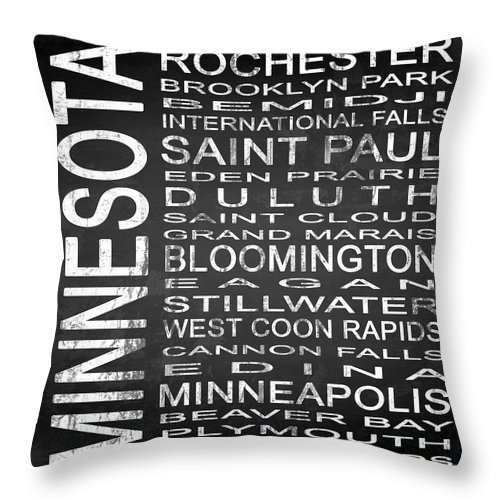 Subway Sign Throw Pillow featuring the digital art Subway Minnesota State Square by Melissa Smith
