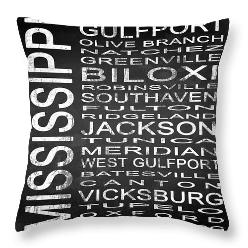 Subway Sign Throw Pillow featuring the digital art Subway Mississippi State Square by Melissa Smith