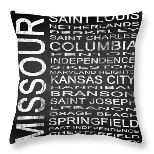 Subway Sign Throw Pillow featuring the digital art Subway Missouri State Square by Melissa Smith