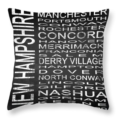 Subway Sign Throw Pillow featuring the digital art Subway New Hampshire State Square by Melissa Smith