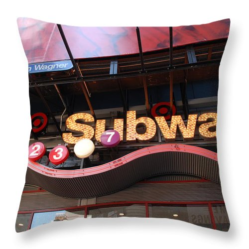 Neon Throw Pillow featuring the photograph Subway by Rob Hans
