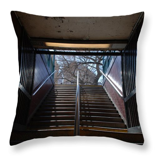 Pop Art Throw Pillow featuring the photograph Subway Stairs To Freedom by Rob Hans