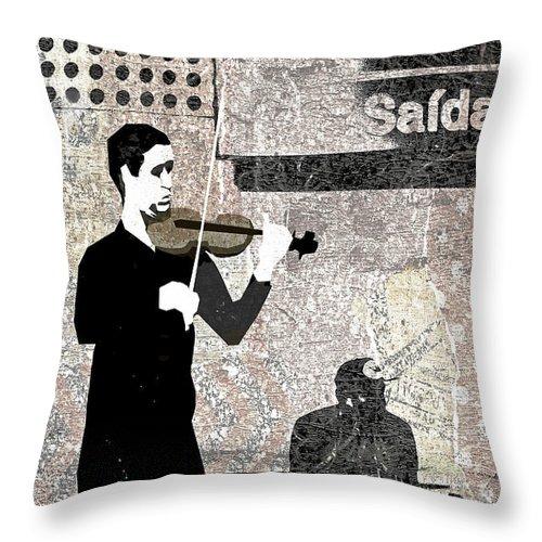 Subway Throw Pillow featuring the digital art Subway Strings by Regina Wyatt