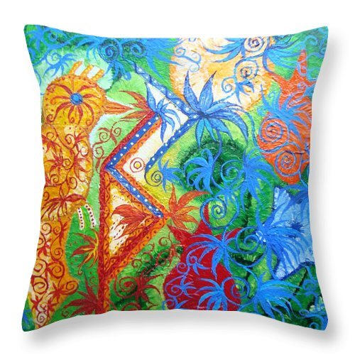 Runes Throw Pillow featuring the painting Success From Project by Joanna Pilatowicz