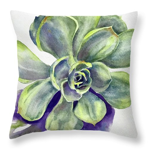 Succulent Throw Pillow featuring the painting Succulent Plant by Hilda Vandergriff