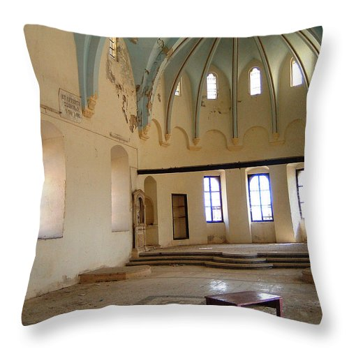 Ruins Turkey Turkish Temple Abandoned Church Pillars Vaulted Ceiling Old Throw Pillow featuring the photograph Such A Waste by Andrea Lawrence