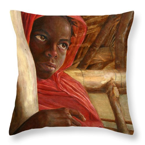 Children Painting Throw Pillow featuring the painting Sudanese Girl by Portraits By NC