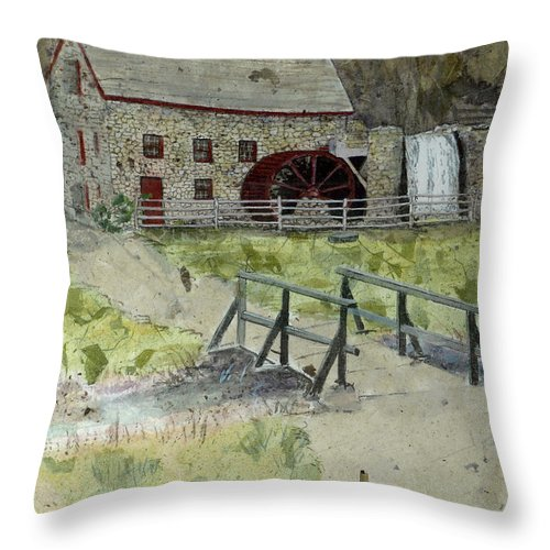 Gristmill Throw Pillow featuring the painting Sudbury Gristmill by Lynn Babineau