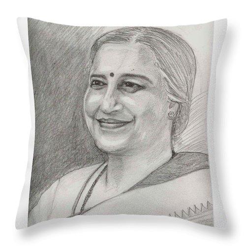 Sudha Narayanamurthy Throw Pillow featuring the drawing Sudha Murthy A Philanthropist by Asha Sudhaker Shenoy