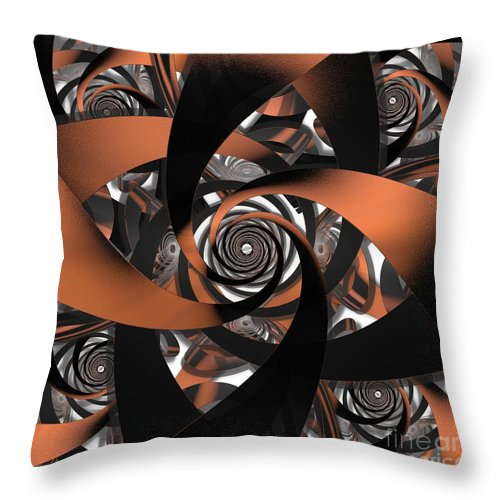 Fractal Throw Pillow featuring the digital art Suede Spiral by Ron Bissett