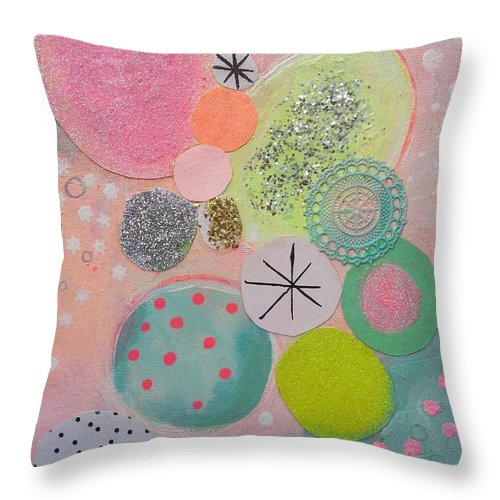 Abstract Geometric Landscape Micro Macro Worlds Circles Ovals Colour Energy Happy Fruity Throw Pillow featuring the mixed media Sugar Buns by Karen Mckenzie Williams