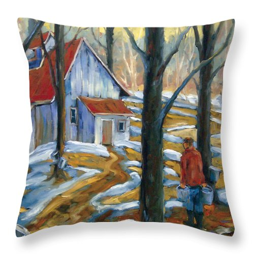 Suga Throw Pillow featuring the painting Sugar Bush by Richard T Pranke