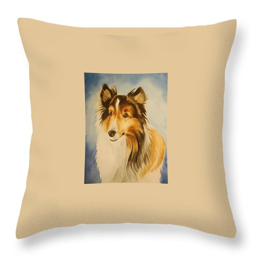 Sheltie Throw Pillow featuring the painting Sugar by Marilyn Jacobson