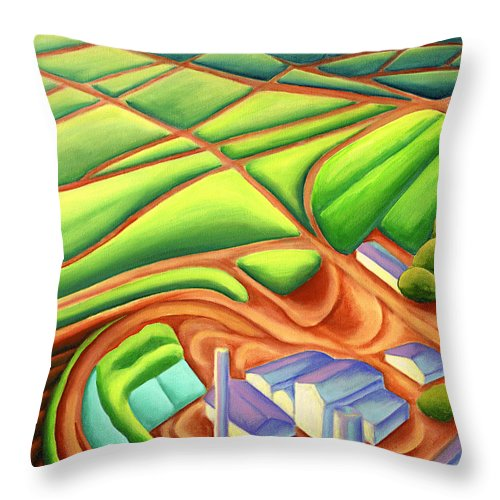 Hawaiian Landscape Throw Pillow featuring the painting Sugar Mill by Lynn Soehner