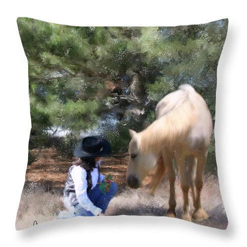 Cowgirl Throw Pillow featuring the painting Sugar N Spice by Colleen Taylor