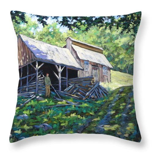 Sugar Shack Throw Pillow featuring the painting Sugar Shack In July by Richard T Pranke