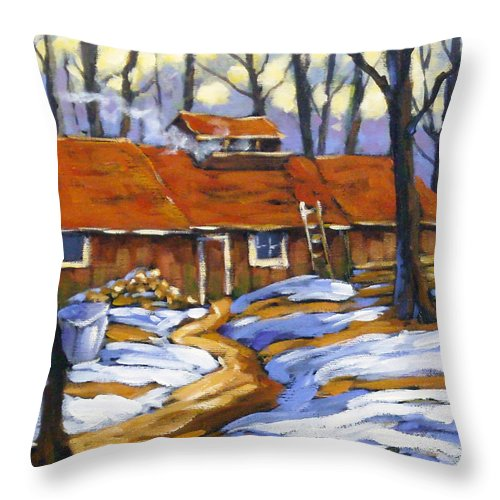Sugar Shack Throw Pillow featuring the painting Sugar Time by Richard T Pranke