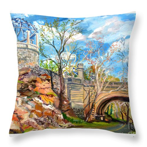 Throw Pillow featuring the painting Sugarbowl On The Brandywine by Keith OBrien Simms