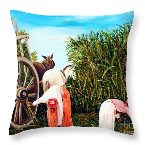 Cuban Art Throw Pillow featuring the painting Sugarcane Worker 1 by Jose Manuel Abraham