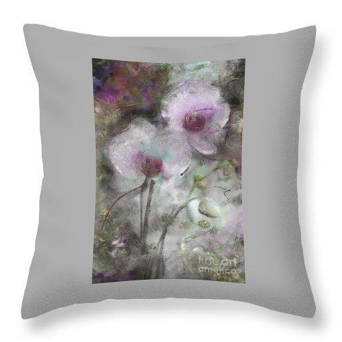 Susan Lipschutz Throw Pillow featuring the digital art Suggestion Of An Orchid by Susan Lipschutz