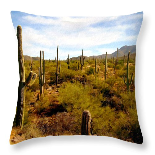 Suguaro Cactus Throw Pillow featuring the photograph Suguro National Park by Kurt Van Wagner