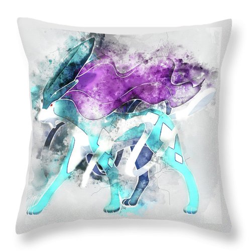 eb1b4bb6 Pokemon Throw Pillow featuring the painting Pokemon Suicune Abstract  Portrait - By Diana Van by Diana