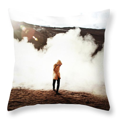 Fog Throw Pillow featuring the photograph Sulfur Clouds by Marina Weishaupt
