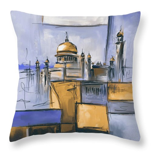 Mosque Throw Pillow featuring the painting Sultan Omer Ali Saifuddin Mosque by Mawra Tahreem