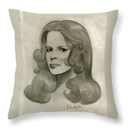 Drawing Throw Pillow featuring the drawing Sultry Smile by Marco Morales