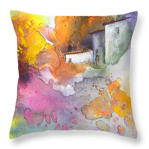 Art Miki Throw Pillow featuring the painting Summer Afternnon 03 by Miki De Goodaboom