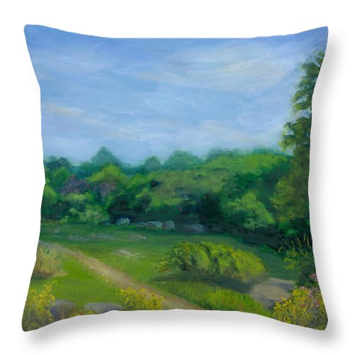 Landscape Throw Pillow featuring the painting Summer Afternoon At Ashlawn Farm by Paula Emery