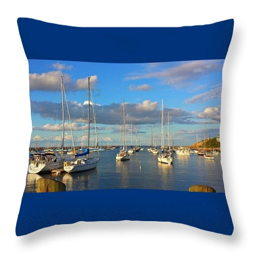 Boats Throw Pillow featuring the photograph Summer Afternoon At Rockport Harbor by Harriet Harding