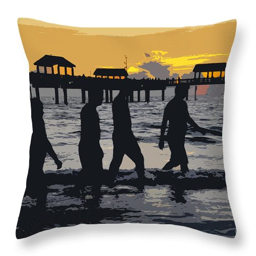 Men Throw Pillow featuring the painting Summer At The Beach by David Lee Thompson