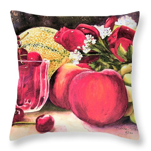 Cherries Throw Pillow featuring the painting Summer Bounty by Karen Stark