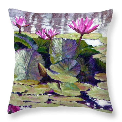 Water Lilies Throw Pillow featuring the painting Summer Breeze by John Lautermilch