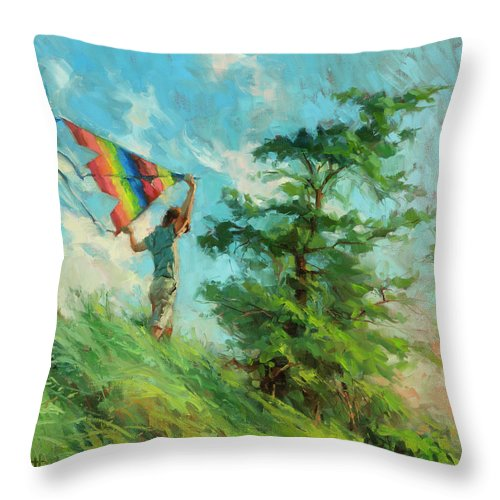 Boy Throw Pillow featuring the painting Summer Breeze by Steve Henderson