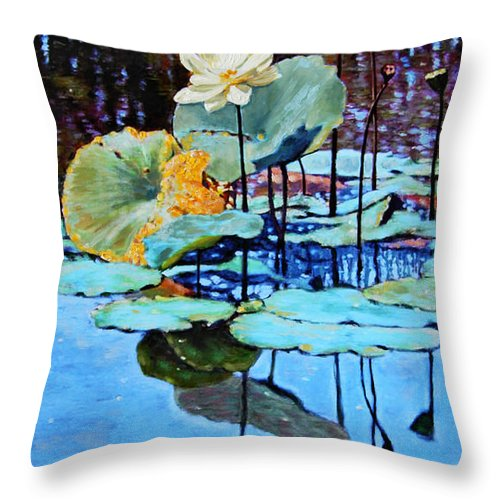 Lotus Flower Throw Pillow featuring the painting Summer Calm by John Lautermilch