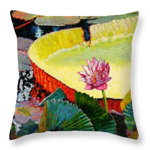 Water Lily Throw Pillow featuring the painting Summer Colors On The Pond by John Lautermilch