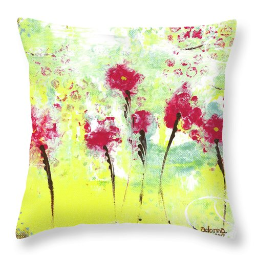 Flowers Throw Pillow featuring the mixed media Summer Dance by Adonna Ebrahimi