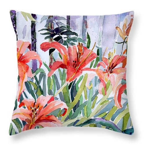 Day Lily Throw Pillow featuring the painting My Summer Day Liliies by Mindy Newman
