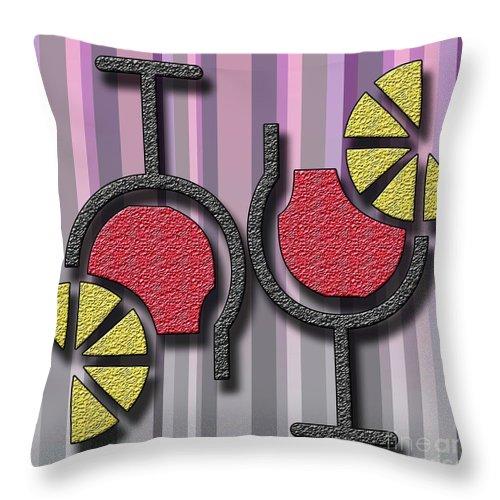 Summer Throw Pillow featuring the digital art Summer Drinks by Ankeeta Bansal