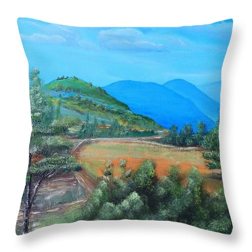 Fields Throw Pillow featuring the painting Summer Fields 2 by Remegio Onia