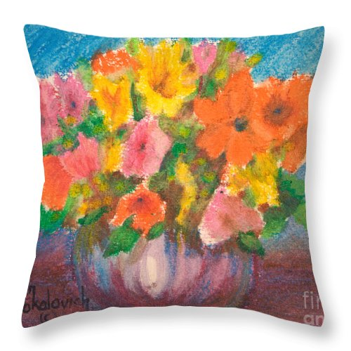 Sokolovich Throw Pillow featuring the painting Summer Flowers by Ann Sokolovich