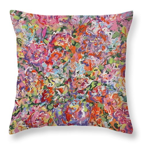 Painting Throw Pillow featuring the painting Summer Flowers by Leonard Holland