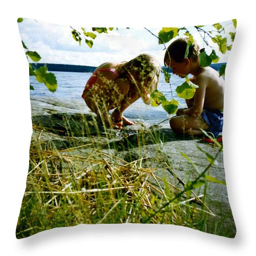 Kids Throw Pillow featuring the photograph Summer Fun In Finland by Merja Waters