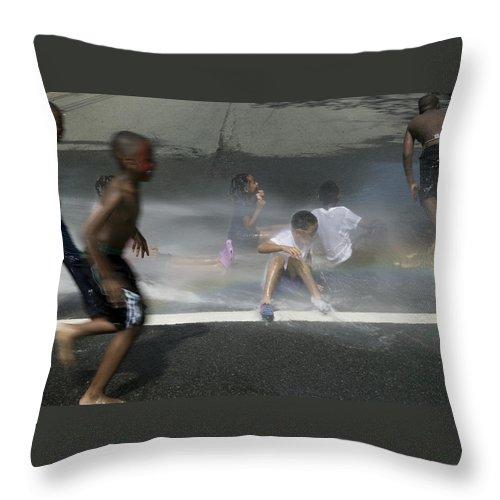 Newark Throw Pillow featuring the photograph Summer Fun In Newark Nj by Yuri Lev