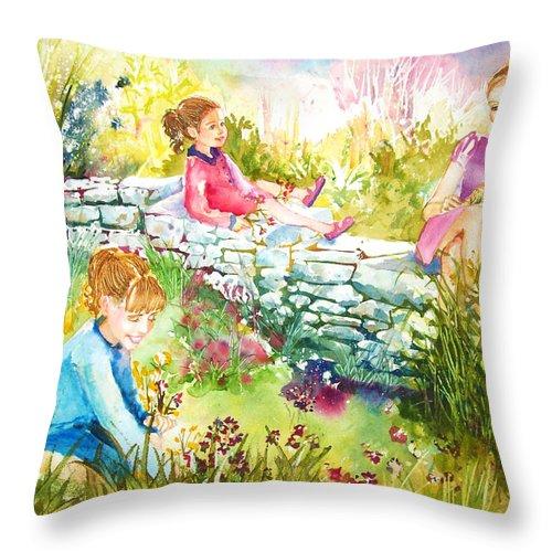 Garden Throw Pillow featuring the painting Summer Garden by Laura Rispoli