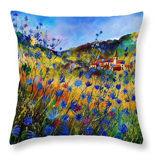 Flowers Throw Pillow featuring the painting Summer Glory by Pol Ledent