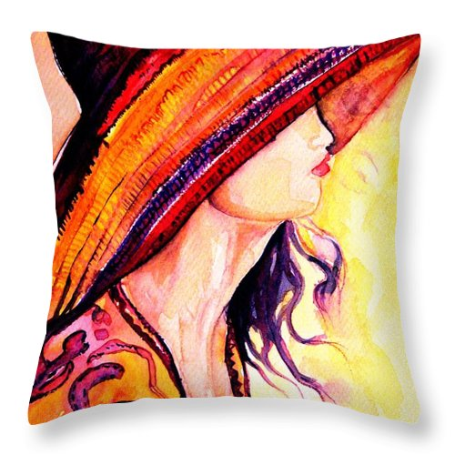 Elegant Lady Throw Pillow featuring the painting Summer Hat by Carole Spandau